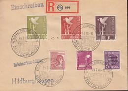 AllBes. GemAusg. 954, 956, 959-961 MiF Mit SBZ 183, Auf R-Brief Mit SoSt: Hildburghausen Einheit Deutschlands 24.7.1948 - Zona AAS