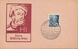 FranzZone Baden 3, Auf Postkarte: Hans Baldung-Grien, Mit Sonderstempel: Staufen 7.6.1948 - French Zone