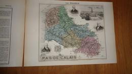 PAS DE CALAIS  Département France Carte Géographique Issue De L'Atlas Migeon 1882 Descriptif Géographie Cartographie - Cartes Géographiques