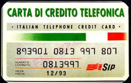 CARTONCINO FAC SIMILE CARTA DI CREDITO E SCHEDA TELEFONICA SIP PRATIC CARD - Unclassified