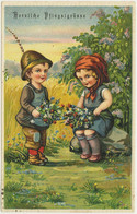AK 1919 Glückwunsch Fröhliche Pfingsten Kinder Blumen Embossed Prägedruck  (2777 - Other