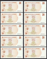 Simbabwe - Zimbabwe 10 Stück á 20 Dollars 2006 Pick 40 UNC (1)     (89209 - Other - Africa