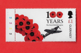 DG01 Guernesey / Guernsey ** 2021 100 Years Royal British Legion Airplane Avion Aviation - Guernesey