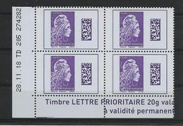 FRANCE COIN DATE 28.11.18 /YT 5258  / TD 205 N° 274 282 Monde Violet 4 Timbres Neufs Gommés - 2010-....