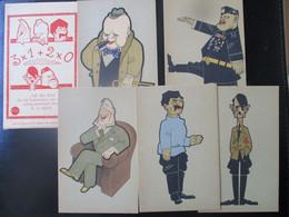 "Anti-NS Postkarten Serie ""The Big Five"" WW2 2. WK Hitler Stalin Roosevelt Churchill Mussolini - Niederlande 1945 Smits - Oorlog 1939-45"