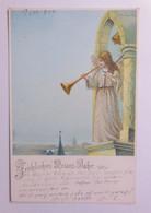 Neujahr, Engel, Trompete, Glocke,  1901, Glitzerperlchen  ♥ (54012) - Neujahr