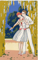 MESCHINI - Art Déco - Couple - Ars Nova (Dipinta à Mano)   (7757 ASO) - 1900-1949