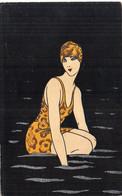 Art Déco - Baigneuse - Peinte Main ?  (7763 ASO) - 1900-1949