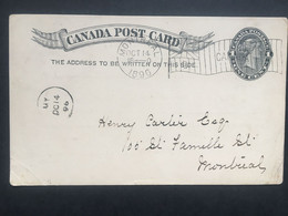 CANADA Victoria Pre-paid 1 Cent Postcard 1896 Montreal Internal - `The Fraser Institute` - Lettres & Documents