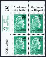 FRANCE 2020 - YT 5439 ** - Marianne L'engagée 50 Ans - Bloc De 4 Numéroté Coin De Feuille - Tirage 3500 Feuilles - 2018-... Marianne L'Engagée