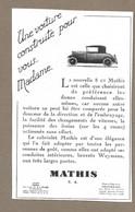 PUBLICITE ANCIENNE 1927.. Une Voiture Construite Pour Vous Madame. La 8 Cv MATHIS, Rue De La Révolte à LEVALLOIS PERRET - Publicidad