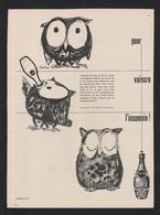 Lot De 3 Pub Papier 1956 Toutes Différentes  Boisson Soda PERRIER Humour Dromadaire Paon Chouette Hibou - Publicidad