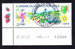 FRANCE 2021 -  Timbre Oblitéré Gommé DATE  N5475  ORDRE DU MERITE AGRICOLE AVEC VIGNETTE (beau Cachet Rond) - Oblitérés