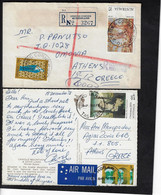 AUSTRALIA 1 REGISTERED COVER 1977 AND 1 POSTCARD 1978, MAILED TO GREECE - Covers & Documents