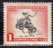 URUGUAY 1954 HORSE BREAKING LA DOMA CENT. 1c MH - Uruguay