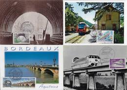 France 1970 / 2011 4 Maximum Card Transport Train Locomotive Railway Railroad Viaduct Brigde Subway - Trenes