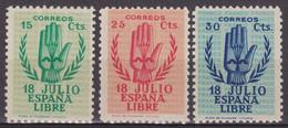 1938 Edifil  851/853 Alzamiento Nacional MNH** - 1931-50 Unused Stamps