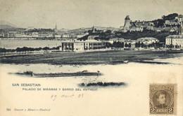 SAN SEBASTIAN  PALACIO DE MIRAMAR  Y BARRIO DEL ANTIGUO + Beau Timbre 2Cent Pionnière RV - Guipúzcoa (San Sebastián)