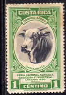 COSTA RICA 1950 AIR MAIL POSTA AEREA AEREO Feria Nacional Agricola Ganadera E Industrial Cartago BULL CENT.1c MH - Costa Rica