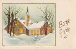 1039 - MIGNONETTE BONNE ANNEE ROUTE EGLISE DANS  PAYSAGE ENNEIGE . PHOTOCHROM  120 . SCAN - New Year