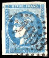 France 1870-71 20c Pale Blue Type II 4 Margins Fine Used. - 1870 Bordeaux Printing