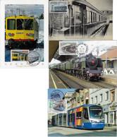 France 1978 2012 4 Maximum Card Transport Train Locomotive Railroad Railway Tram Tramway Station - Trenes