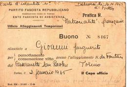 39/45 . CARTE PARTI FASCISTE REPUBLIQUE SOCIALE . POUR FRANCAIS DE FONTAN - Documentos Históricos