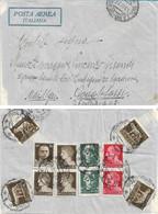 REGNO - POSTA AEREA PER ERITREA CON AL VERSO AFFRANCATURA MULTIPLA IMPERIALE 1937 - A67 - Marcofilie (Luchtvaart)
