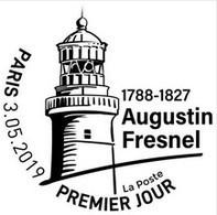 Fac-similé Du Cachet Temporaire Premier Jour Du Timbre Augustin Fresnel, Phares Headlight Lighthouse Leuchtturm - Vuurtorens