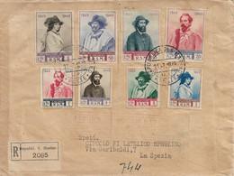 REPUBBLICA SAN MARINO - RACCOMANDATA PER LA SPEZIA CON SERIE COMPLETA CENTENARIO RITIRATA GARIBALDI A S. MARINO 1949 - Brieven En Documenten