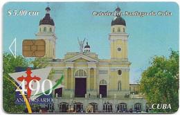 Cuba - Etecsa (Chip) - 490th Anniversary 5-6, Santiago De Cuba Cathedral, 06.2005, 5$, 35.000ex, Used - Cuba