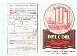 Document Publicité DELC'OIL - Compagnie HUILES DELCO MARSEILLE - 1953 - Tarif N°122 - - Advertising