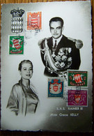 Monaco - Sur Carte Postale Rainier III Et Grace Kelly - 1955 - Affranchissement Composé - Covers & Documents