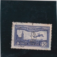 POSTE AERIENNE - N°6 - 1F50 BLEU OBLITERE - PERFORE - 1927-1959 Used