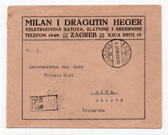 1921 KINGDOM OF SHS,CROATIA,ZAGREB TO SWISS,REGISTERED COMPANY COVER,HEGER,JEWELRY WHOLESALE - Storia Postale