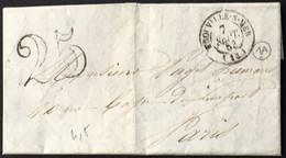 Lettre Trouville-sur-Mer Calvados (13) à Paris 7.9.1853 Taxe Tampon 25 – 8bleu - 1849-1876: Classic Period