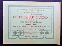 Brochure - Città Chieti - Festa Delle Canzoni - Direttore Di Nisio - Maggio 1929 - Autres