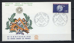 FRANCE 1973 ENVELOPPE FDC 1ER JOUR BICENTENAIRE DU GRAND ORIENT DE FRANCE - 1970-1979