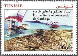 TUNISIA, 2021, MNH, SHIPS, MILITARY AND COMMERCIAL PORT OF CARTHAGE, 1v - Barche