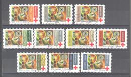 """France Autoadhésifs Oblitérés N°1863 à 1872 (Croix Rouge """"Rythme, Joie De Vivre"""" Robert Delaunay) (lignes Ondulées) - 2010-.. Matasellados"""