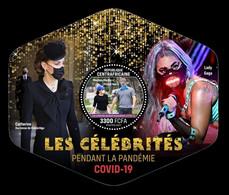 CAR 2021 Mih. 10861 (Bl.2220) Celebrities And COVID-19. Prince Harry. Meghan Markle. Kate Middleton. Lady Gaga MNH ** - Zentralafrik. Republik