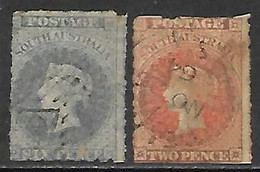 South Australia  1858   Sc#12     6p  & 1862 #16 Rouletted Used   2016 Scott Value $77.25 - Used Stamps