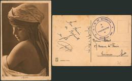 """Carte Postale - Jeune Fille (Ayada) + Cachet DC Au Verso """"D.T.M. De Beyrouth / Le Vaguemestre / Secteur 600"""" (1921) - Libanon"""