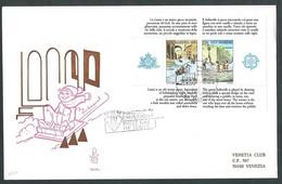 1989 SAN MARINO FDC VENETIA 284 FOGLIETTO EUROPA TIMBRO ARRIVO - FDC