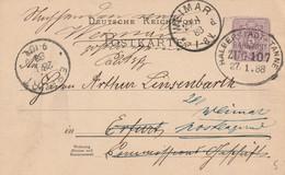 Allemagne Ambulant Halberstadt - Tanne Sur Entier Postal 1888 - Brieven En Documenten