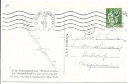 """Carte Postale  -  S/S """"NORMANDIE - Cachet De Paquebot LE HAVRE A NEW-YORK 20/05/36 : - Covers & Documents"""
