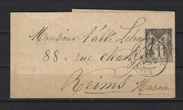 ENTIER 1878/1906 - Bande Pour Journal. Type SAGE 1c. Gris. Y&T N°83-BJ1 - RETHEL ARDENNES Vers REIMS MARNE. - Wikkels Voor Tijdschriften