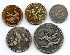 BELIZE, Set Of Five Coins 1,5,10,25,50 Cents, Copper-Nickel, Brass, Bronze, Year 1974, KM #38, 39, 40, 41, 42 - Belize