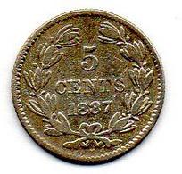 NICARAGUA, 5 Centavos, Silver, Year 1887, KM #5 - Nicaragua
