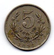 NICARAGUA, 5 Centavos, Copper-Nickel, Year 1898, KM #8 - Nicaragua